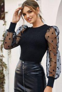 μαύρη μπλούζα με πουά διαφανή μανίκια