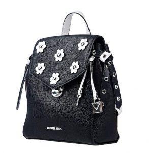μαύρη τσάντα πλάτης άσπρα λουλούδια