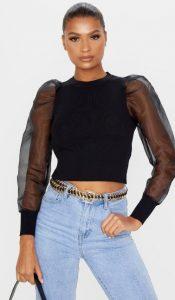 μαύρο κοντό μπλουζάκι