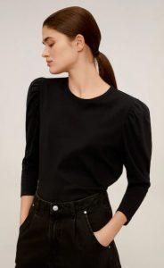 μαύρο μπλουζάκι με τρία τέταρτα μανίκι