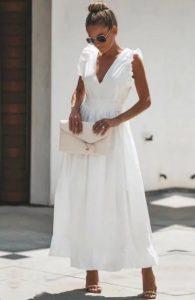 μάξι άσπρο φόρεμα αμάνικο