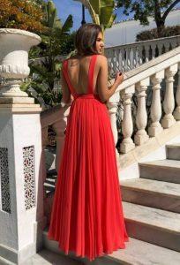 κόκκινο μάξι φόρεμα ανοιχτή πλάτη