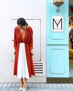 midi κόκκινο άσπρο φόρεμα