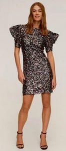 μινι κολλητό φόρεμα με έντονα μανίκια