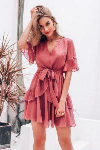 μίνι ροζ φόρεμα με βολάν βραδινά φορέματα καλοκαίρι