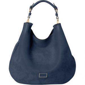 μπλε δερμάτινη τσάντα ώμου