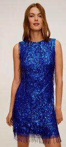 μπλε μινι αστραφτερό φόρεμα