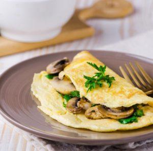 ομελέτα με μανιτάρια τροφές διατηρήσεις σιλουέτα