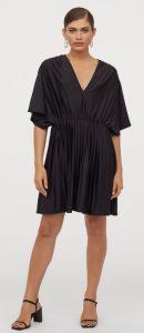 πλισέ μαύρο κοντό φόρεμα