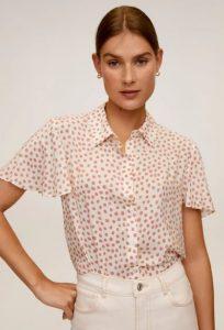 πουά άσπρο ροζ κοντομάνικο πουκάμισο