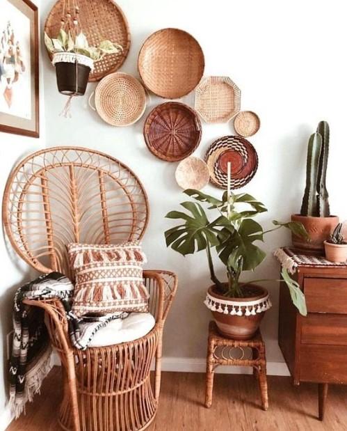 ψάθινα καλάθια τοίχο μπαμπού καρέκλα διακοσμητικά σπίτι