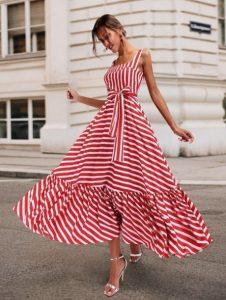 ριγέ κόκκινο άσπρο φόρεμα midi