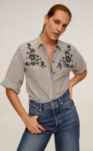 ριγέ κοντομάνικο γυναικείο πουκάμισο