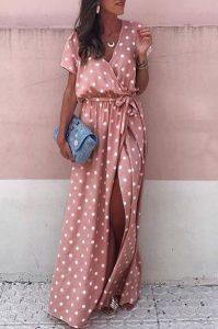 ροζ φόρεμα πουά μάξι βραδινά φορέματα καλοκαίρι