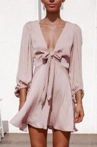 ροζ κοντό φόρεμα μακριμάνικο
