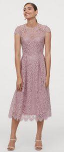 ροζ μίντι φόρεμα με δαντέλα