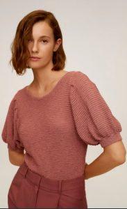 ροζ μπλούζα με φουσκωτά μανίκια