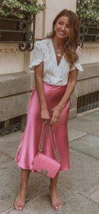 ροζ σατέν φούστα