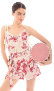 ροζ στρόγγυλη τσάντα χιαστί