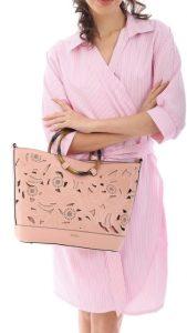 ροζ τσάντα ξύλινο χερούλι