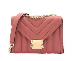 ροζ τσάντα ταχυδρόμου χρυσή αλυσίδα