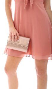 βραδινό γυναικείο τσαντάκι ροζ χρυσό χρώμα