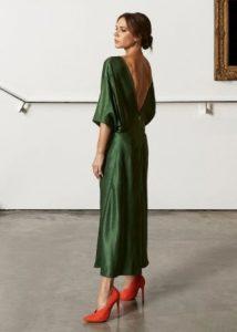 χακί μακρύ φόρεμα εξώπλατο βραδινά φορέματα καλοκαίρι