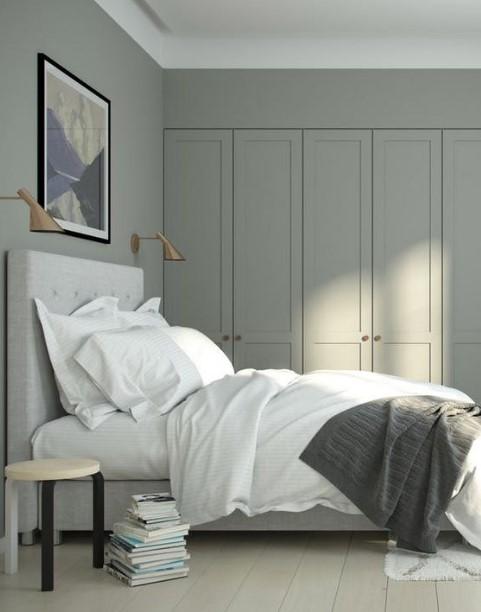 υπνοδωμάτιο μεγάλη ντουλάπα γκρι κρεβάτι