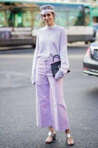 απαλή μοβ μπλούζα παντελόνι φορέσεις παστέλ χρώματα