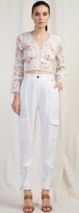 άσπρο λινό παντελόνι με τσέπες