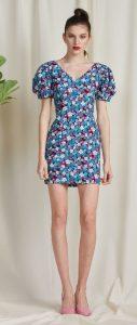 floral φόρεμα με φουσκωτά μανίκια