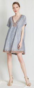γαλάζιο κοντομάνικο φόρεμα Α γραμμή