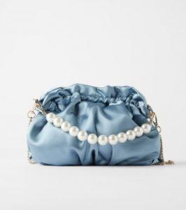 γαλάζιο τσαντάκι με πέρλες