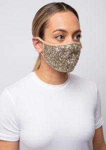 χρυσή γυναικεία μάσκα προσώπου με πούλιες