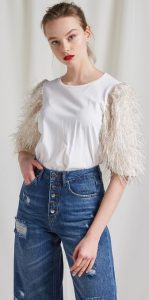 γυναικεία μπλούζα μανίκια με φτερά