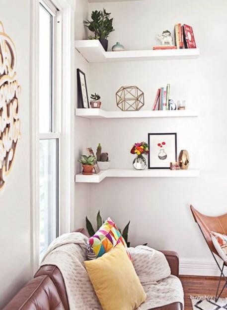 γωνιακά ράφια σαλόνι διακοσμητικά