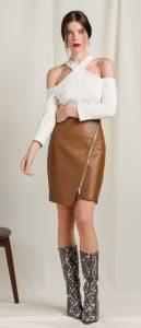 καφέ ασύμμετρη δερμάτινη φούστα