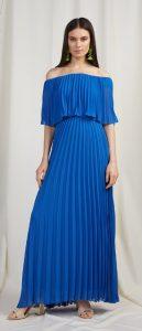 μπλε καλοκαιρινό αέρινο φόρεμα έξω ώμους