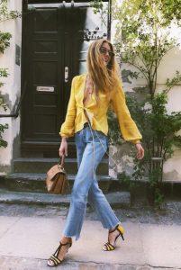 κίτρινο πουκάμισο τζιν παντελόνι