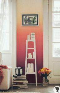 κόκκινος πορτοκαλί όμπρε τοίχος