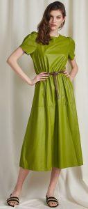 λαδί μίντι δερμάτινο φόρεμα άνοιξη 2020