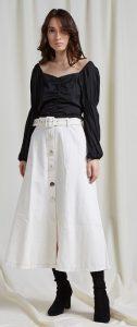 λευκή μίντι φούστα με κουμπιά