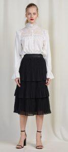 μαύρη midi φούστα με βολάν