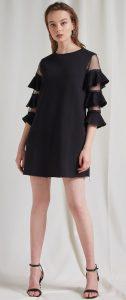 μαύρο κοντό φόρεμα με βολάν