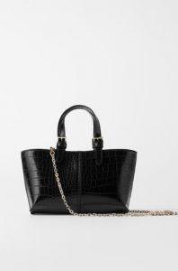 μαύρη croco τσάντα χειρός