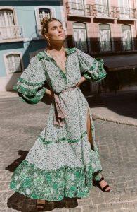 μάξι φόρεμα αέρινο πράσινο κομψό boho στυλ