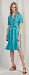 γαλάζιο μίντι λινό φόρεμα με κουμπιά