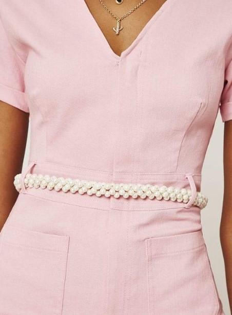 μοντέρνα γυναικεία ζώνη με πέρλες