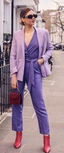 μοβ μονόχρωμο outfit