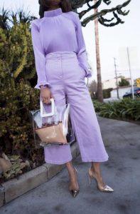 μοβ πουκάμισο μοβ ζιπ κιλότ